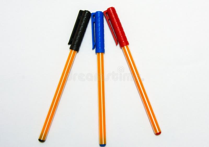 Feder mit drei Farben lizenzfreie stockfotografie