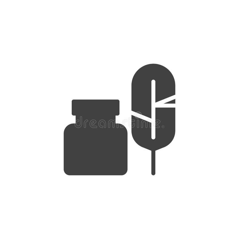 Feder mit Tintenfassvektorikone lizenzfreie abbildung