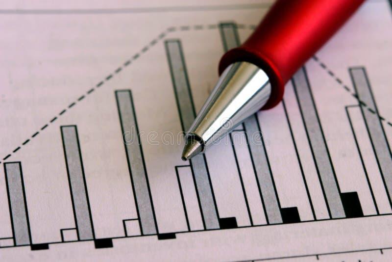 Feder und Diagramm stockbilder