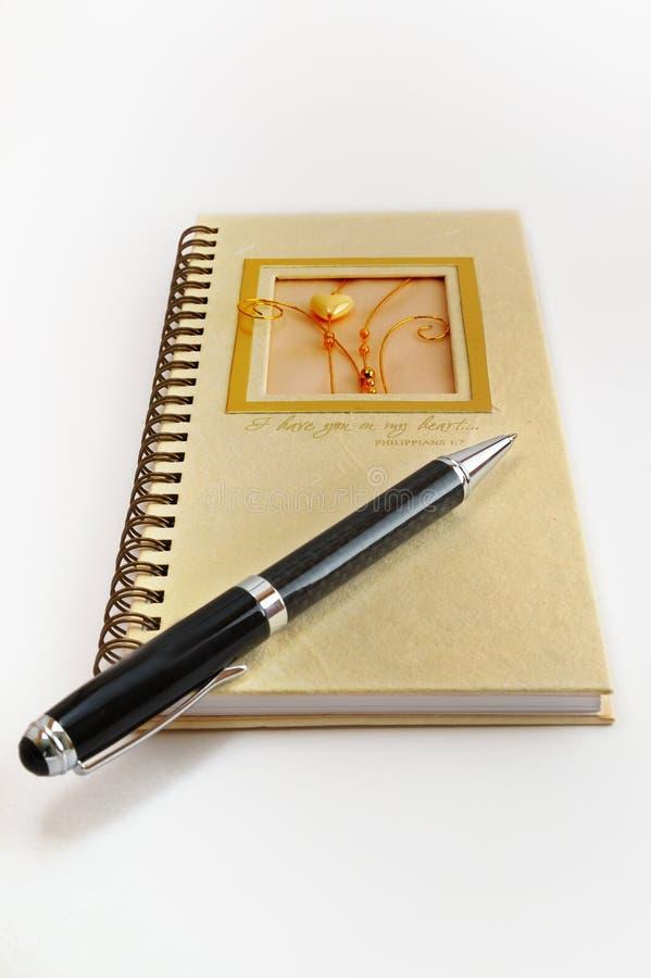 Feder und Tagebuch stockbild