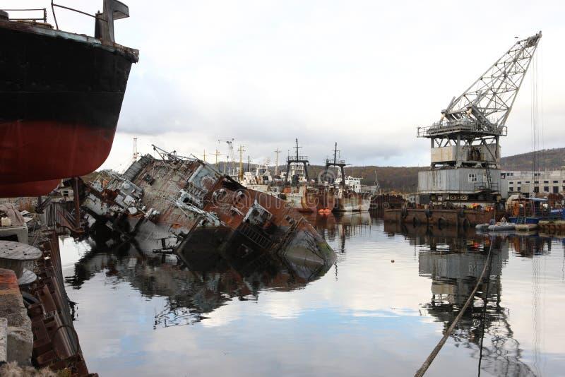 Federación Rusa abandonada norte de la región de Murmansk Rusia imagen de archivo libre de regalías