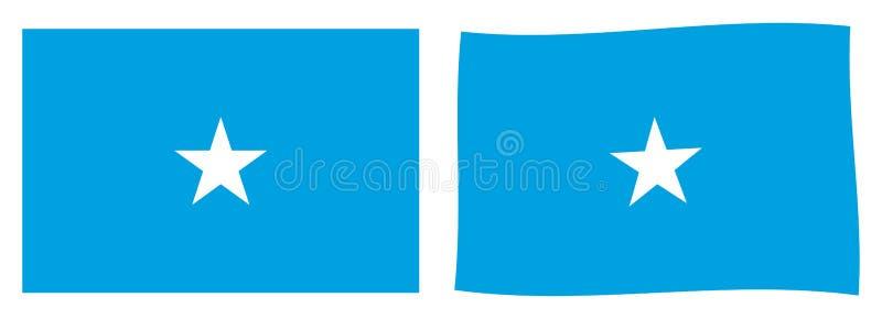 Federacyjna republika Somalia flaga Prosty i nieznacznie machający ver ilustracji