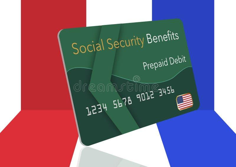 Federacyjne korzyści dla ubezpieczenia społecznego, SSI, VA i bardziej płacący mogą używać prepaid kartę debetową Tutaj jest egza royalty ilustracja