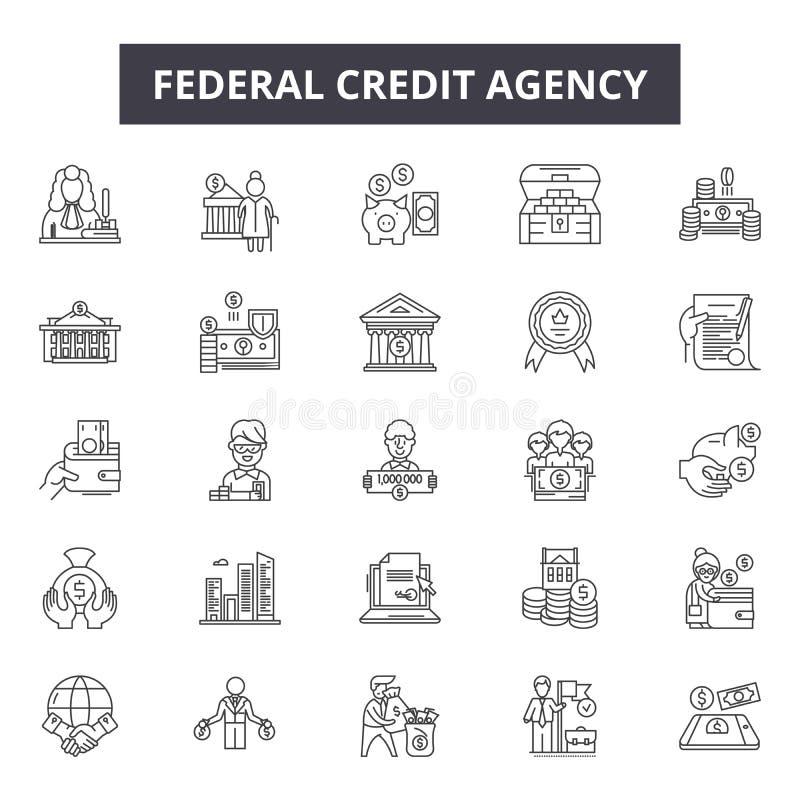 Federacyjne kredytowej agencji linii ikony dla sieci i mobilnego projekta Editable uderzenie znaki Federacyjny kredytowej agencji royalty ilustracja