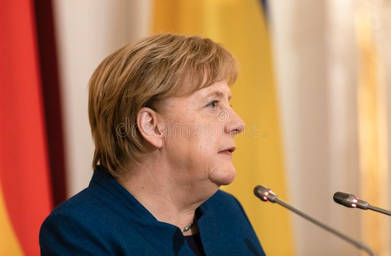 Federal Chancellor of the Federal Republic of Germany Angela Merkel. KIEV, UKRAINE - Nov 01, 2018: Federal Chancellor of the Federal Republic of Germany Angela royalty free stock images