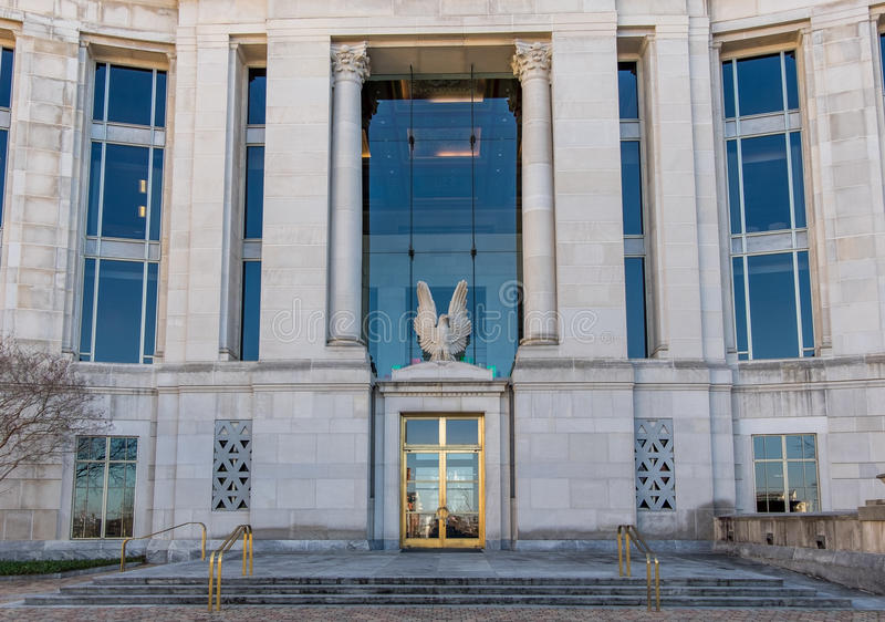 Federal courthouse in Montgomery Alabama. The entrance to United States District Court in Montgomery Alabama with large eagle stock image