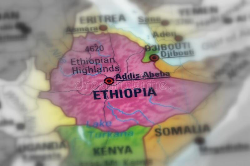 Federal Democratic Republic of Ethiopia. Ethiopia, officially the Federal Democratic Republic of Ethiopia black and white selective focus royalty free stock photos