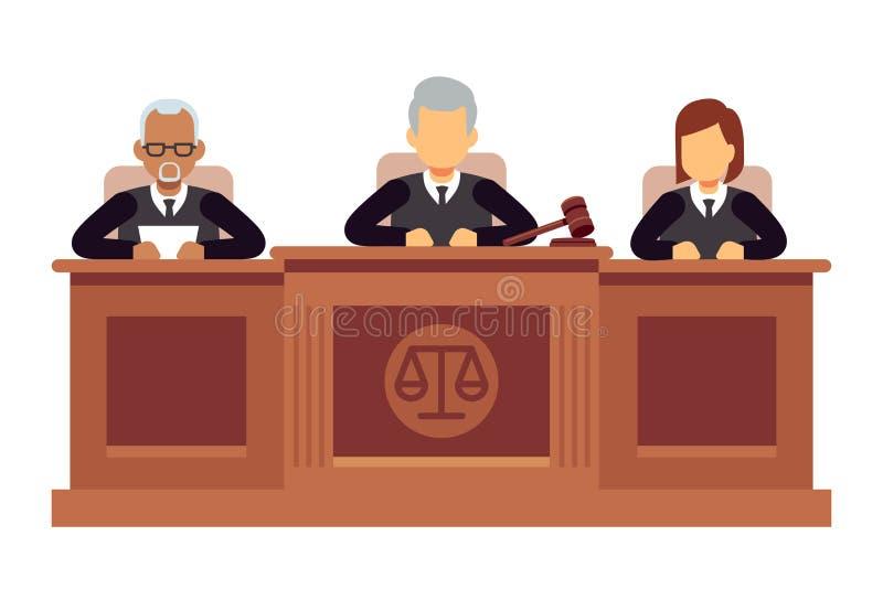 Federal högsta domstolen med domare Rättsvetenskap- och lagvektorbegrepp royaltyfri illustrationer