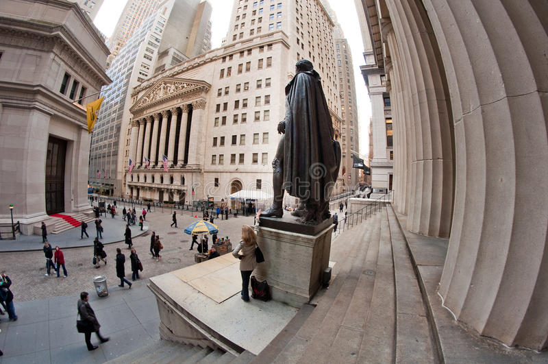 Federal Hall And Wall Street Editorial Stock Photo