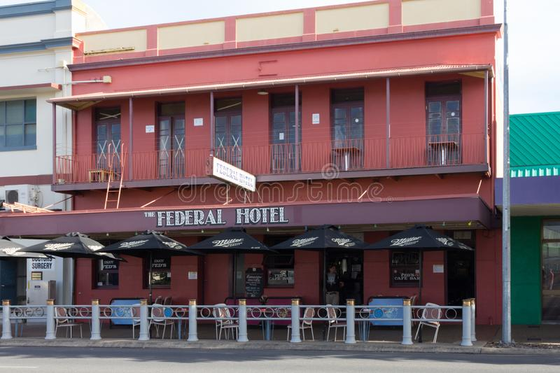 The Federal Hotel, Maryborough, Queensland, Australia. Maryborough, Australia - 18th May 2015: The Federal Hotel, Maryborough, Queensland. The hotel has a well stock photo
