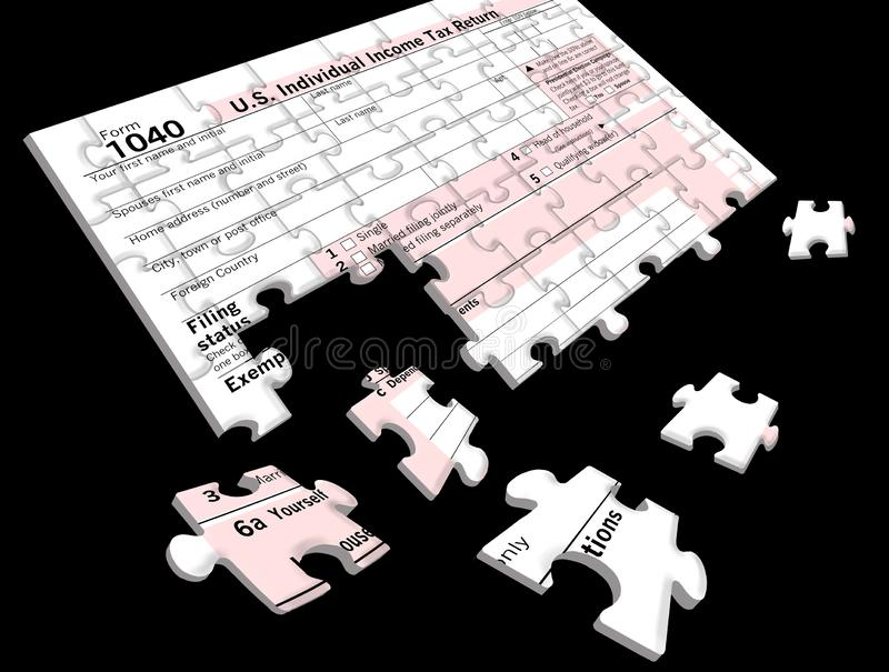 Federal Income Tax form 1040 that is a jigsaw puzzle royalty free stock photography
