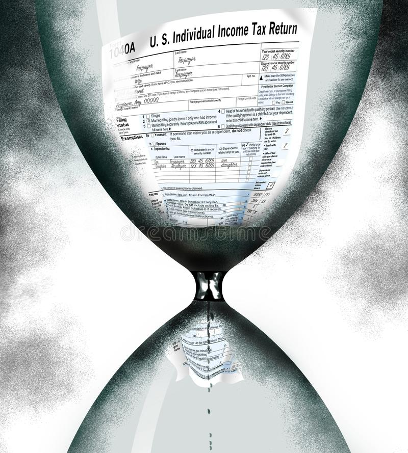 A federal income tax 1040A form is squeezing through an hourglass timer as the tax filing deadline nears. This is an illustration stock photo