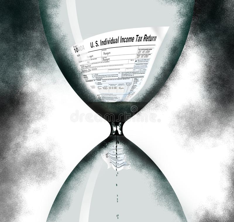A federal income tax 1040A form is squeezing through an hourglass timer as the tax filing deadline nears. This is an illustration stock photography
