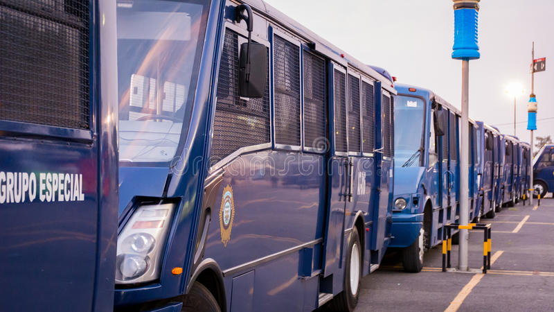 Federal Police Vans in Mexico City stock photography