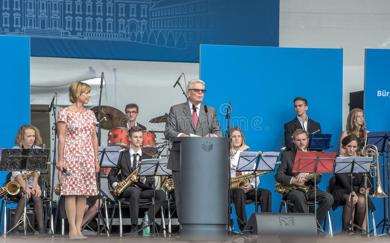 Federal President of Germany Joachim Gauck speaks to the visitors stock image