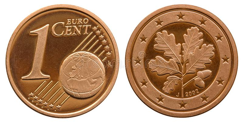 Federal Republic of Germany 1 cent 2001. One cent coin Federal Republic of Germany. Front one with globe, back oak leaves in the star wreath stock photography