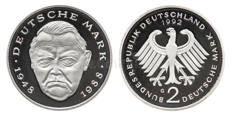 Federal Republic of Germany 2 mark coin 1992. Front franz josef strauss, back side eagle stock images