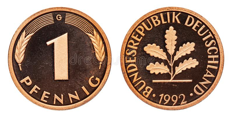 Federal Republic of Germany 1 pfennig coin 1992. Front one and ear, back eagle and oak leaf stock photography