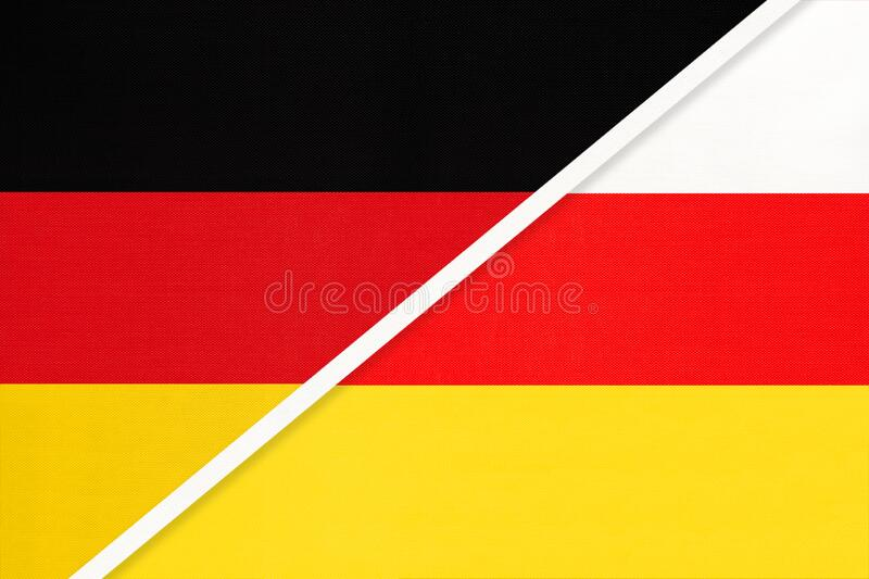 Germany vs South Ossetia, symbol of two national flags. Relationship between European and Asian countries. Federal Republic of Germany vs South Ossetia, symbol vector illustration