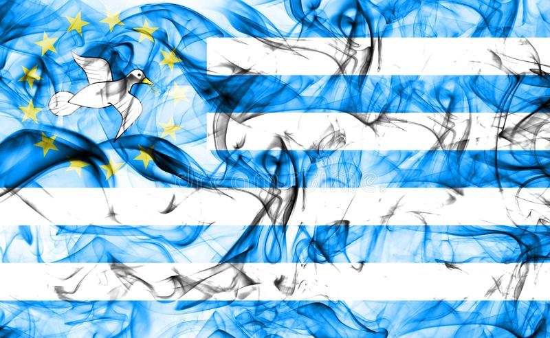 Federal Republic of Southern Cameroons smoke flag, dependent territory flag.  royalty free stock photos