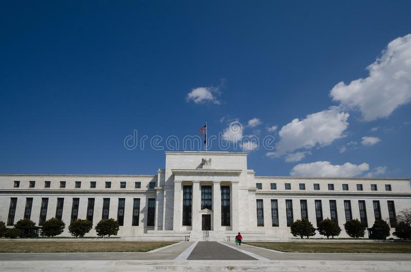 Federal Reserve bräde av regulatorer som bygger främre sikt royaltyfri bild