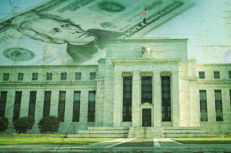 Federal Reserve building with twenty dollar bill on grunge texture stock photography