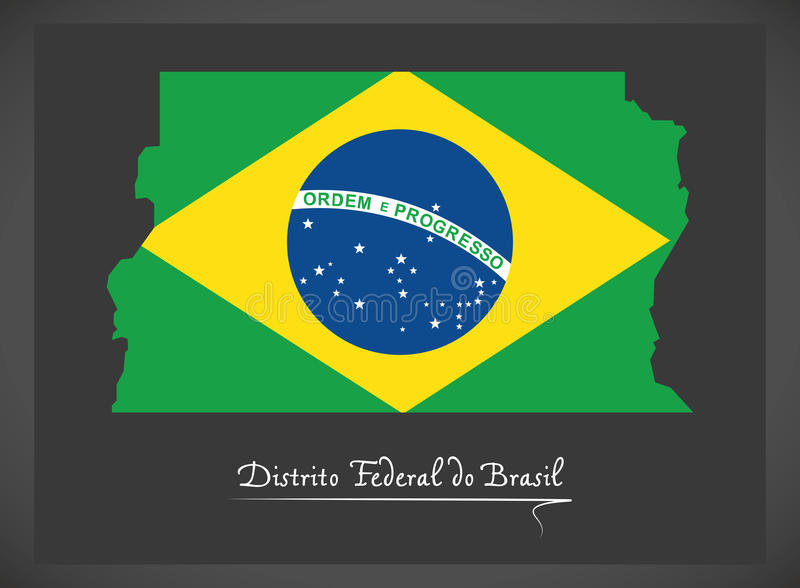 Federala Distrito gör den Brasilien översikten med den brasilianska nationsflaggan royaltyfri illustrationer