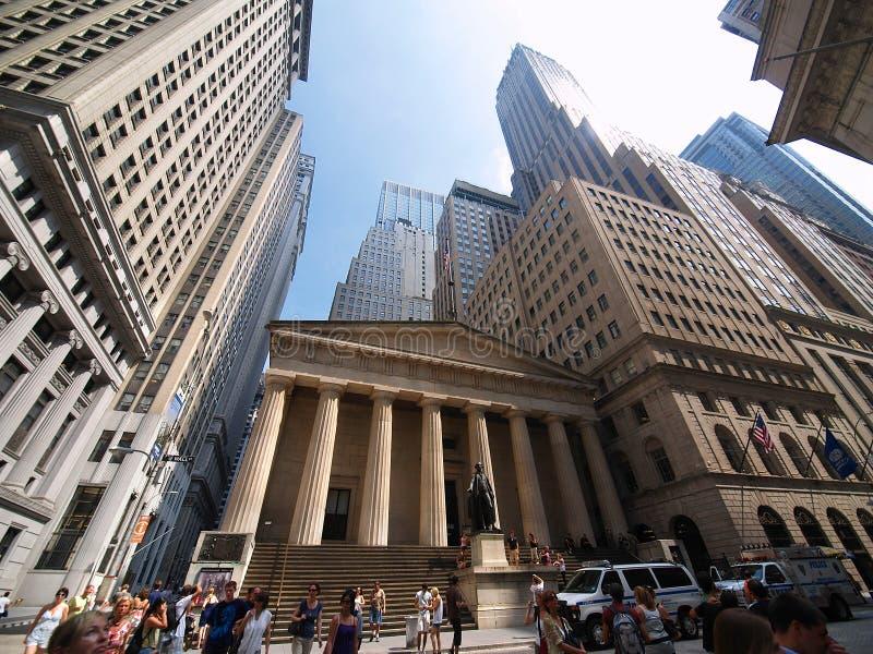 Federale Zaal Wall Street, financieel Nieuw district, stock foto's