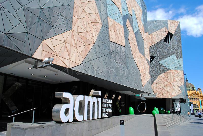 Federation Square and ACMI. Federation Square and The Australian Centre for the Moving Image (ACMI) in Melbourne stock photo