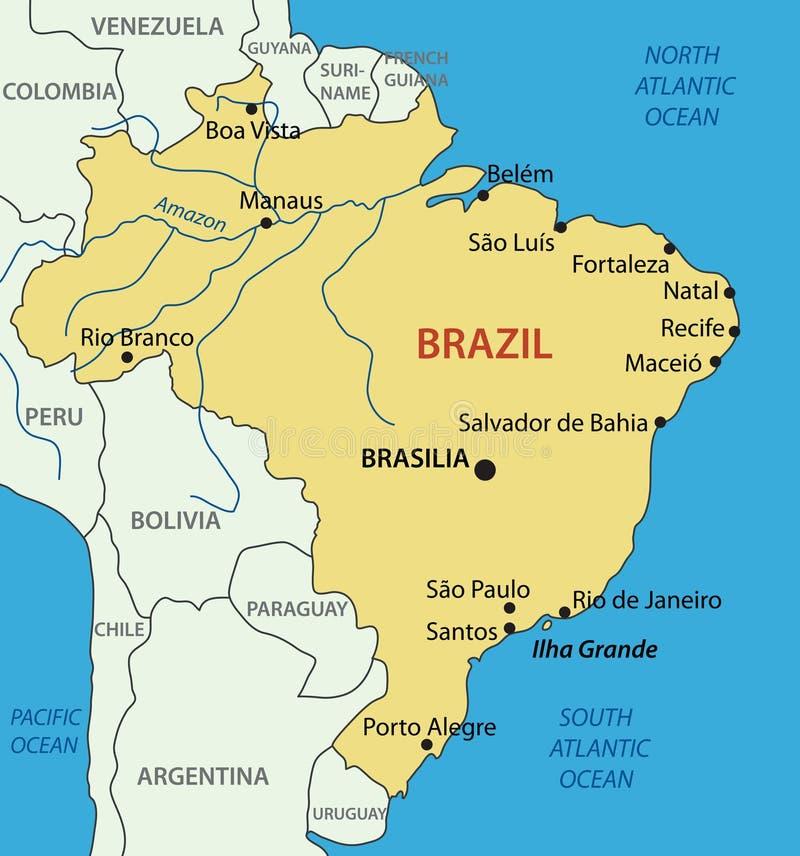 Federative Republic of Brazil - vector map stock illustration