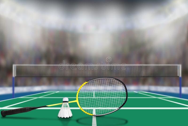 Federballschläger und Federball in der Arena mit Kopien-Raum lizenzfreie stockbilder