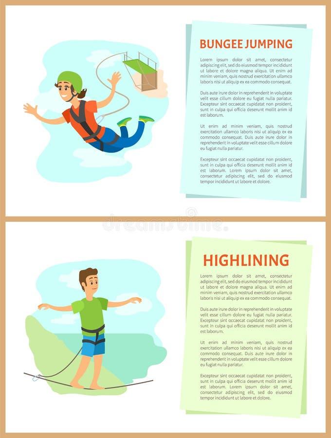 Federelement-Springen und Mann-und Frauen-Satz Highlining lizenzfreie abbildung