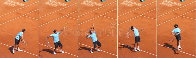 federer球员排列了罗杰网球顶层 库存图片