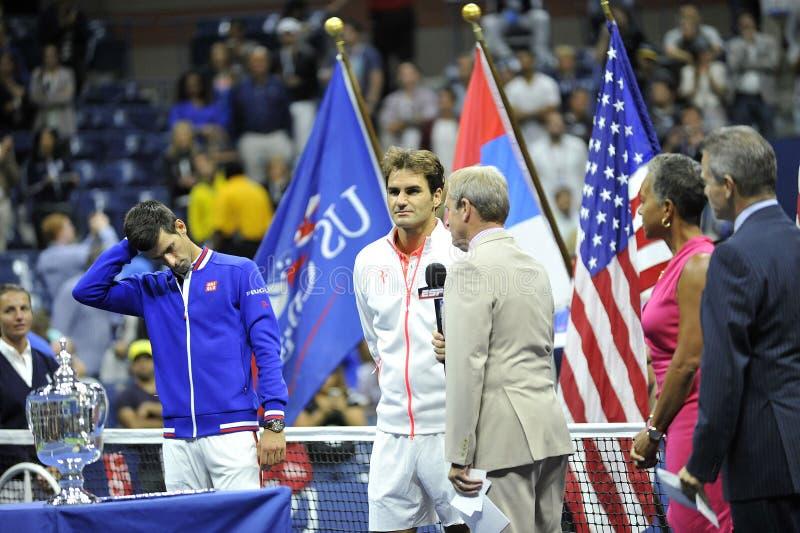 Federer u. Djokovic-US Open 2015 (123) stockfotos
