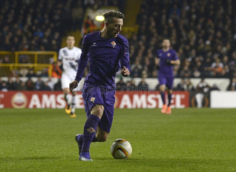 Federico Bernardeschi. Football players pictured during UEFA Europa League round of 32 game between Tottenham Hotspur and AC Fiorentina on February 25, 2016 at royalty free stock photo