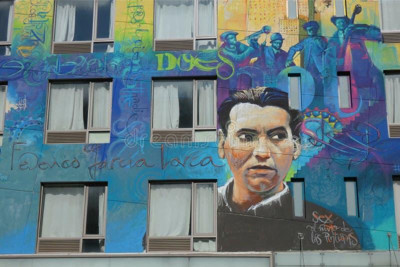 Federico Garcia Lorca Mural foto de archivo libre de regalías