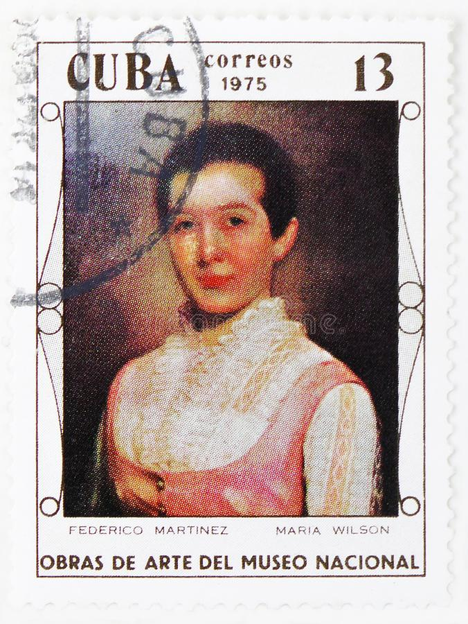 Federico Martinez : Maria Wilson, Paintings from the National Museum serie, circa 1975. MOSCOW, RUSSIA - JULY 25, 2019: Postage stamp printed in Cuba shows royalty free stock image