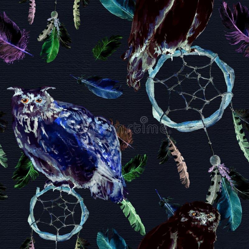 Federn, Eulenvogel, dreamcatcher, schwarzer Hintergrund Wiederholen des Musters watercolor lizenzfreie abbildung