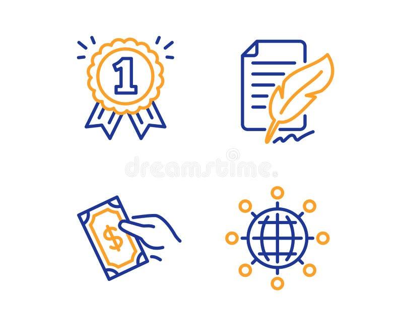 Federunterzeichnung, Lohngeld und Belohnungsikonensatz Internationales Kugelzeichen Feedback, Griffbargeld, erster Platz Vektor stock abbildung