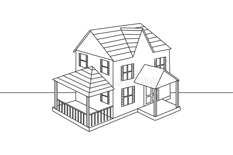Federzeichnung der einzelnen Zeile des Familienhauses vektor abbildung