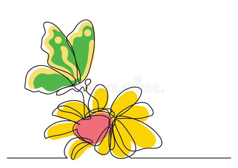 Federzeichnung der einzelnen Zeile des Schmetterlinges und der Blumen vektor abbildung