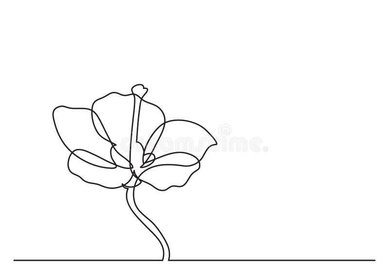 Federzeichnung der einzelnen Zeile der schönen Blume stock abbildung