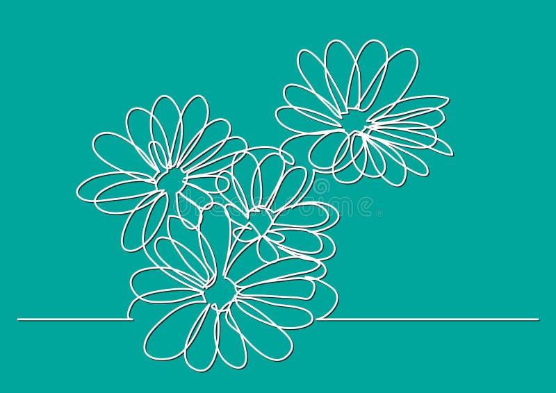Federzeichnung der einzelnen Zeile von schönen Blumen vektor abbildung