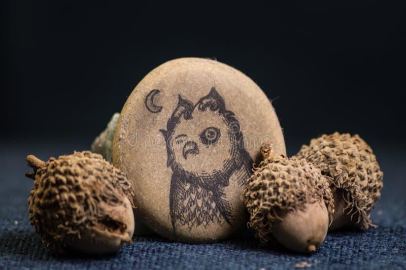 Federzeichnung der Eule auf dem flachen Stein begleitet von den Eicheln stockfotos