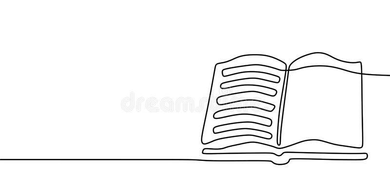 Federzeichnungsfahne des Buches eins Ununterbrochene Handgezogener unbedeutender Minimalismusentwurf lokalisiert auf weißer Hinte stock abbildung