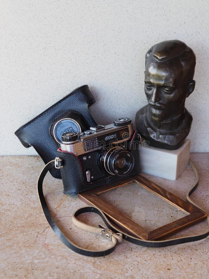 FEDET ?r en sovjetisk rangefinderkamera som massproduceras fr?n 1934 och ocks? namnet av fabriken som gjorde det Fabriken dök upp arkivbild
