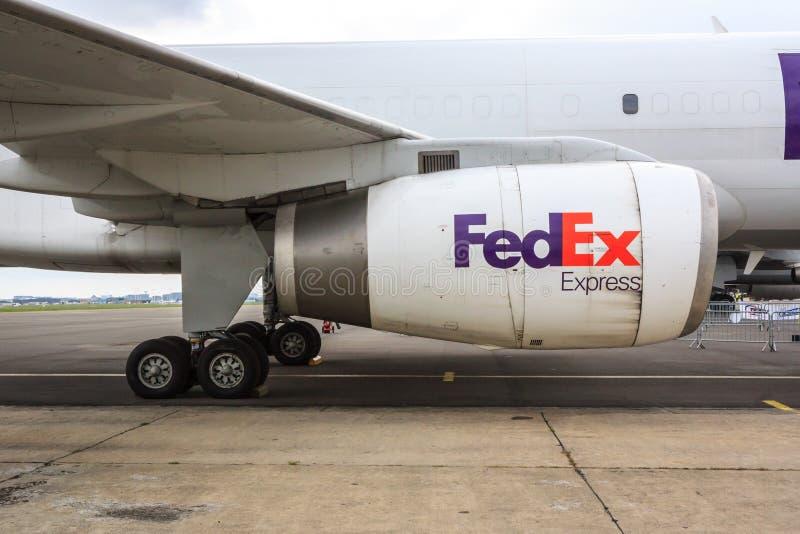 Fedex jetmotor royaltyfri bild