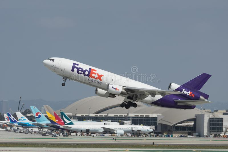 Fedex M.D.-10 LOSSE Jet Departing stock afbeeldingen