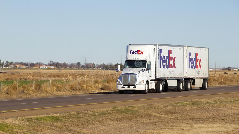 FedEx Semi truck with trailer royalty free stock images