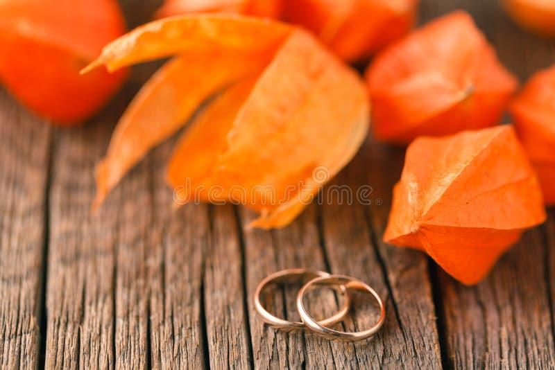 Fedi nuziali dorate su un primo piano della foglia di autunno fotografia stock libera da diritti